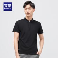 【补贴价:59】罗蒙男士纯色T恤衫2021夏季新款时尚休闲短袖Polo衫中青年打底衫