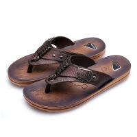 夏季新款男士人字拖韩版沙滩凉鞋休闲夹脚皮凉拖透气男鞋拖鞋