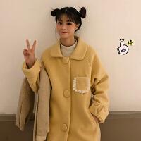 秋冬季新款韩版宽松娃娃领花边中长款长袖毛呢大衣外套上衣学生女 黄色 均码