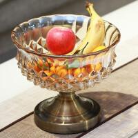 欧式现代客厅茶几创意水晶玻璃水果盘摆设装饰品家居摆件抖音