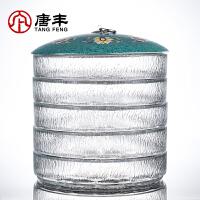 唐丰玻璃普洱罐可多层自由叠加大茶仓家用透明密封罐珐琅彩