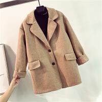 中长款纯色呢子大衣女冬季复古休闲港味口袋单排扣西装领毛呢外套 均码