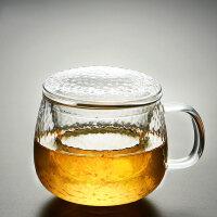 【优选】泡茶杯办公室过滤花茶杯家用大容量水杯子男女透明带把锤纹玻璃杯 锤纹三件杯