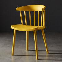 【新品】简约现代北欧温莎椅塑料餐椅加厚靠背椅子创意设计师休闲书桌椅子