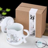 【优选】马克杯茶水分离杯子陶瓷杯带盖过滤男士办公室茶杯青瓷喝水杯