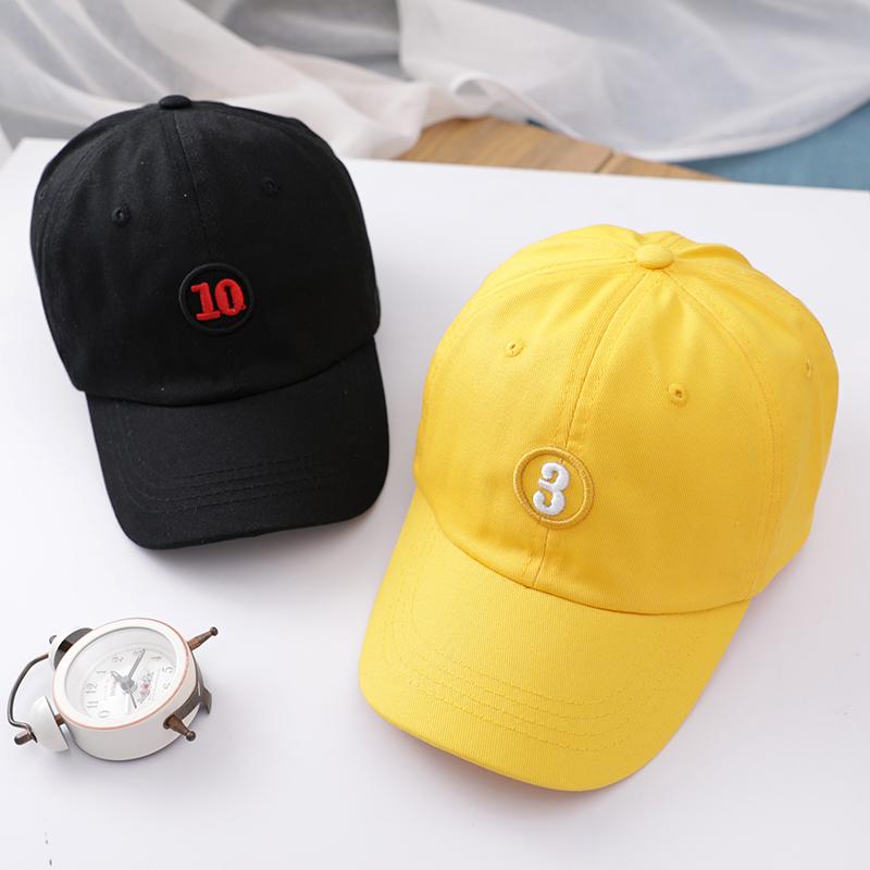 儿童鸭舌帽韩版春季女童遮阳帽男童数字棒球帽夏天宝宝帽子潮