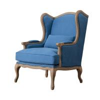 【旗舰精品】 美式沙发椅 棉麻羽绒橡木布艺老虎椅 北欧单人休闲懒人小沙发 单人