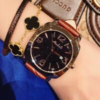 玛莎莉星空时尚简约气质石英表女大气网红女士法国小众手表皮带款
