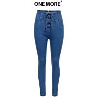 【2件3折】ONE MORE2018冬装新款牛仔高腰绑绳长裤11GF830128