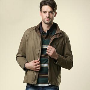骆驼男装 男士立领水洗夹克外套 新款休闲外套