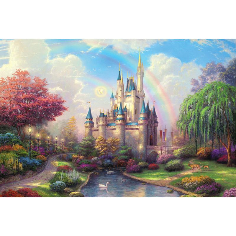 拼图1000片木质积卡通动漫儿童益智玩具风景大型高难度*物 深藏青 木质梦幻城堡
