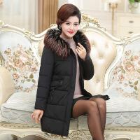 中年女装冬装40岁50中长款冬季新款羽绒棉外套妈妈装加厚棉衣 黑色 XL