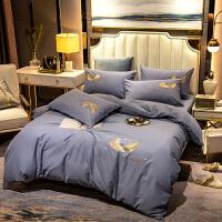伊迪梦家纺 60s长绒棉纯棉刺绣4件套 大规格床单全棉磨毛绣花欧式四件套床上用品加厚保暖LK05
