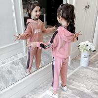 2019春秋季新款韩版中大童童装洋气运动卫衣两件套女童秋装套装