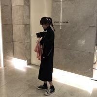 乌77JI简慵懒风保暖高领针织裙色修身显瘦中长款连衣裙女冬2018 黑色 预售 均码