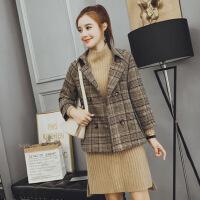 韩版呢子短款大衣女2018秋冬装新款女装时尚矮个子显瘦毛呢外套潮