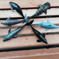 大号仿真海洋生物动物模型玩具虎鲸大白鲨鱼虎鲸鲸鲨海豚蓝鲸教具 6款大鲨鱼硬体25厘米左右