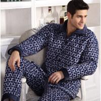 冬季男士加厚三层保暖套装棉袄法兰绒蓝色中老年人家居服棉衣