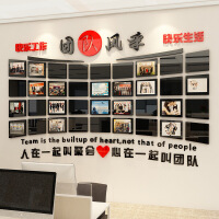 照片墙装饰员工风采照片墙办公室装饰亚克力相框企业背景墙壁贴画公司文化墙 超
