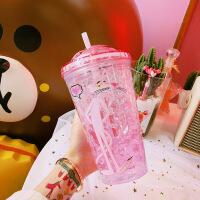 夏天杯子创意韩版潮流网红水杯少女心塑料吸管杯可爱冰杯清新生日礼物