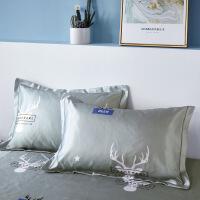 【好货】可机洗枕套夏季凉爽冰凉冰丝枕席儿童枕头套夏天宝宝枕头套一对 48cmX74cm