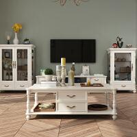 【优选】 美式茶几欧式客厅家具实木简约现代大理石茶几电视柜组合 组装