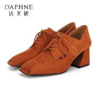 达芙妮旗下秋款潮鞋春款中跟粗跟单靴百搭系带磨砂女鞋时尚马丁靴-