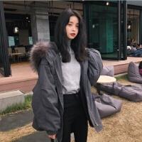 棉衣女士2018新款羽绒服灰色可拆卸大毛领中长款女收腰显瘦带拉链