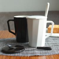 ins北�W��s陶瓷�R克杯子咖啡杯���w勺情�H�k公室家用男女喝水杯