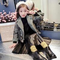 女童大衣女童毛呢外套秋装2018新款韩版潮童装中大童时尚洋气加厚呢子大衣MYZQ66 绿色