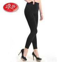 浪莎打底裤 女士6800D柔软天鹅绒双层保暖加裆九分裤 新款保暖裤