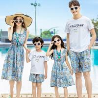 2019新款潮母子母女连衣裙套装沙滩度假全家家庭装亲子装夏装