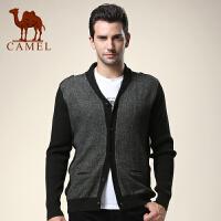 CAMEL 骆驼男装 新款翻领修身开衫羊毛衫 男士长袖毛衣外套