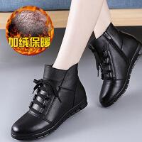牛皮加绒保暖新款妈妈女棉鞋冬季短女靴真皮软底一脚蹬中年平底鞋 201黑色棉鞋
