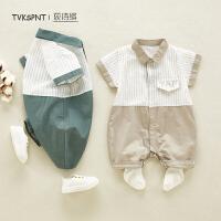 宝宝哈衣爬服薄款婴儿外出服潮婴儿夏装连体衣幼儿衣服