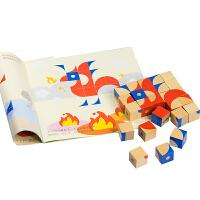 木制立体积木拼图六面画七巧板2早教3-6周岁儿童玩具