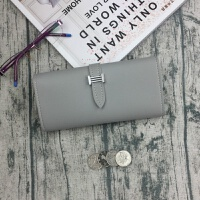 女士新款平纹H扣装饰长款手拿钱包多功能手机包青年简约包包