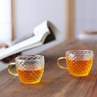 唐丰锤纹带把玻璃品茗杯家用功夫透明小号茶杯办公耐热喝茶杯简约