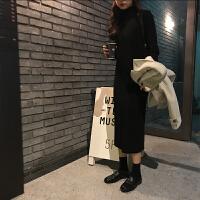 馨帮帮2018新款韩版学生复古显瘦中长款高领针织裙子女秋冬连衣裙 均码