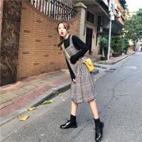 秋装2018新款韩版学生呢子格子吊带连衣裙女冬原宿风中长款背带裙 图片色 均码
