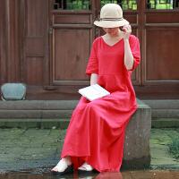 乱在江南棉麻连衣裙女2020新款中长款夏季亚麻红色复古民族风长裙