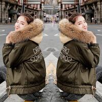 大毛领羽绒女短款2018新款韩版时尚棉衣外套冬季加厚工装棉袄