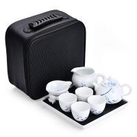 旅行功夫茶具茶杯套装 便携式一壶四杯日式 用家手绘小茶具套装迷你