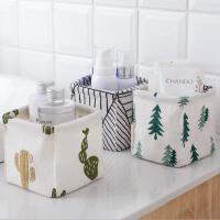 居家棉麻桌面收纳盒 可折叠布艺便携收纳盒 多用防水收纳箱