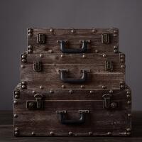 美式复古手提箱木箱子软装样板房装饰品摆件设服装店橱窗陈列道具