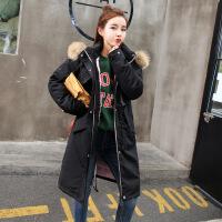 棉衣女冬装新款宽松韩版休闲反季中长款棉袄外套加厚羽绒 黑色 M