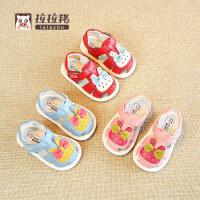夏季1-3岁儿童凉鞋包头女童公主鞋婴幼儿鞋子软底女宝宝学步鞋