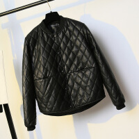 冬季新款韩版宽松bf大码200斤加厚pu皮棉衣女士短款反季 黑色 收藏加购物车优先发货