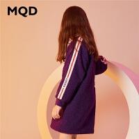 MQD童装女童加绒连衣裙2019冬季新款儿童加厚保暖立领中长款卫衣