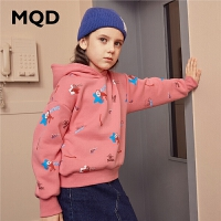 【1件3折:159】MQD童装加绒加厚女童卫衣2019冬季新款儿童满版保暖卫衣连帽上衣